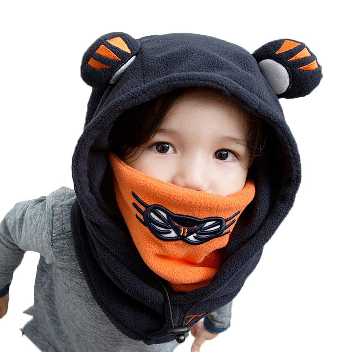 TRIWONDER Balaclava Hat for Kids Face Mask Thermal Fleece Neck Warmer Winter Ski Mask Full Face Cover Cap (Navy Blue - New Version)