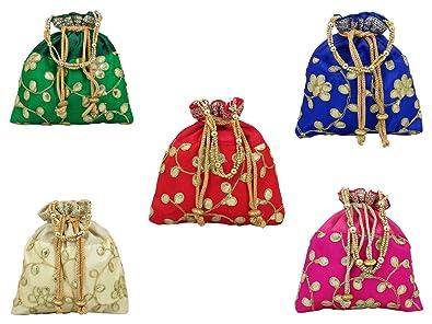 Amazon.com: GoldGiftIdeas Bolsas indias con diseño floral de ...