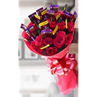 Golden Cart Garden Fresh Roses Flower Bouquet to Convey That 'Special Feeling' (Bunch of 10 Red Roses & 10 Chocolates, Red)