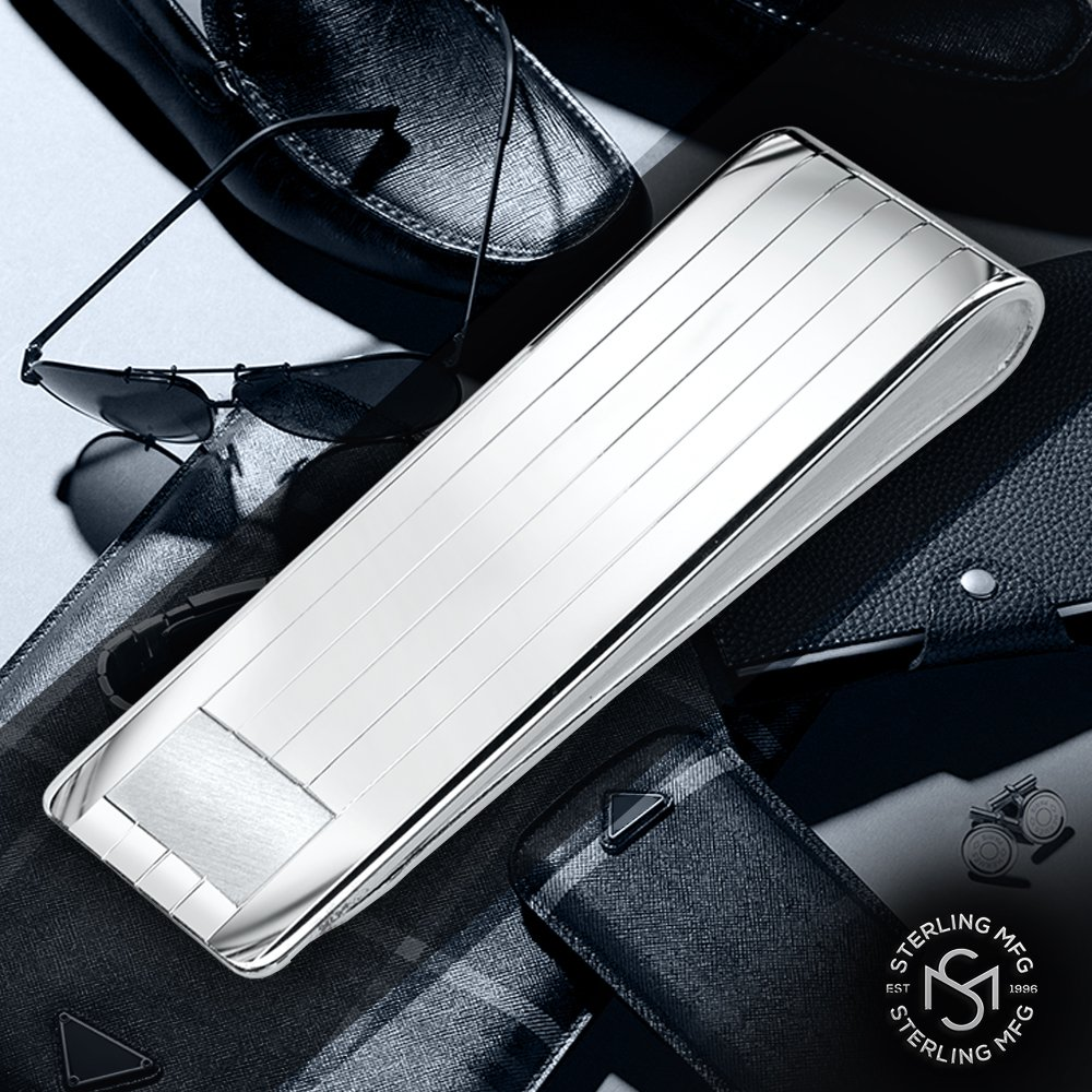 Sterling Silver .925 Solid Striped Design Engravable Money Clip. Designed and Made In Italy. By Sterling Manufacturers by Sterling Manufacturers (Image #4)