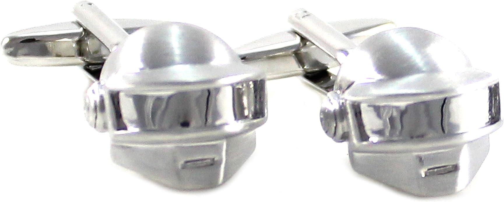 mendepot Novelty Daft Punk Casco Gemelos con caja cepillado plata tono casco Gemelos en caja: Amazon.es: Joyería