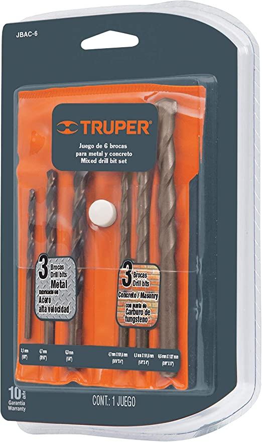 TRUPER JBAC-6 6-Pc Masonry and High Speed Steel Drill Bit Set
