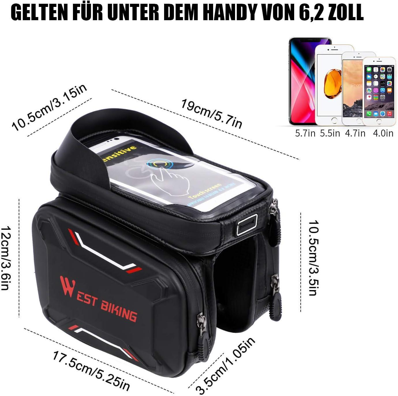 4 Farbe Abnahmbare Handytasche Geeignet f/ür Smartphones unter 6,2 Zoll Innerhalb mit Kopfh/örerloch Rot, Gr/ün, Blau, Grau geeignet f/ür MTB Fahrradtasche wasserdicht Rahmentasche mit Touchscreen