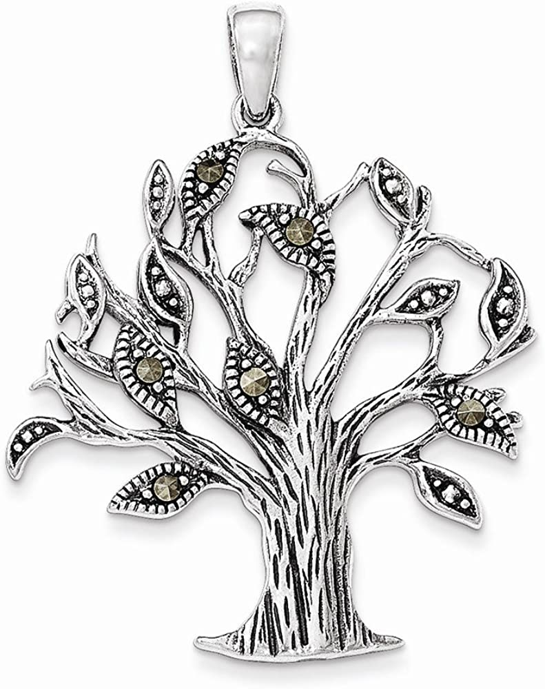 Sterling Silver Oxidized with Marcasite Tree Pendant