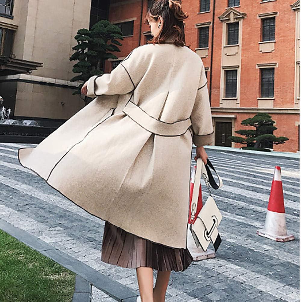 Franterd Womens Lapel Coat Autumn Winter Woolen Slim Long Jacket Casual Solid Color Button Outwear Match Dress