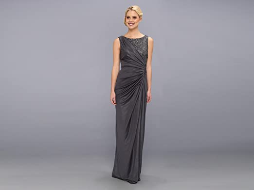 f6b9cf3a48ad2 Adrianna Papell Women s Lace Jersey Gown Sleeveless Dress