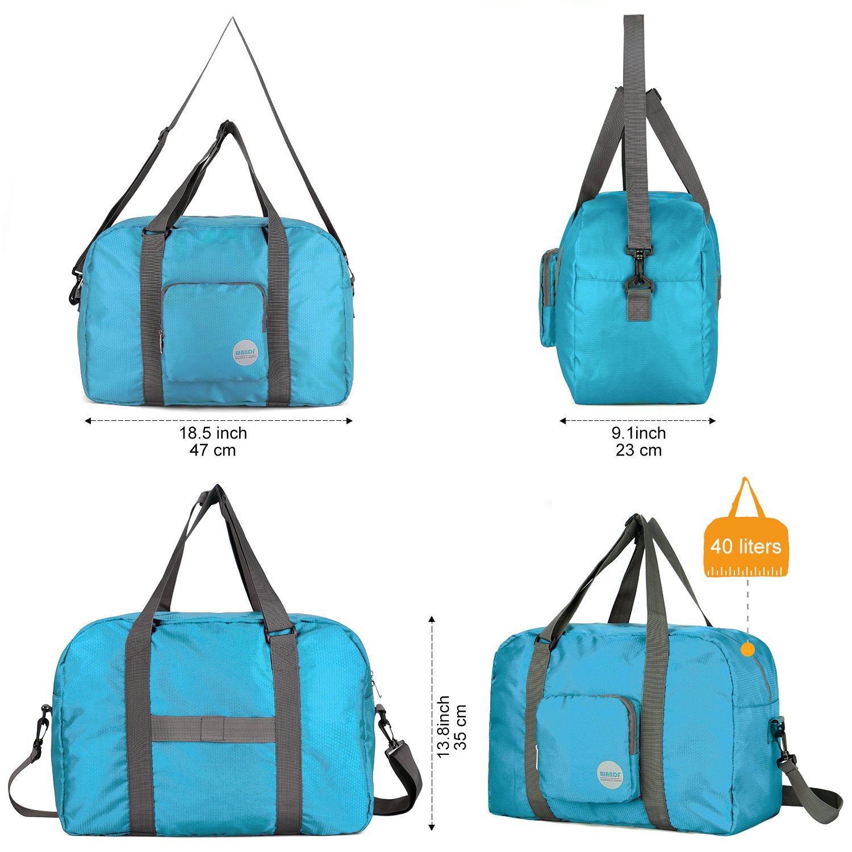Wandf Foldable Travel Duffel Bag Luggage Sports Gym Water Resistant Nylon, Blue by WANDF (Image #3)