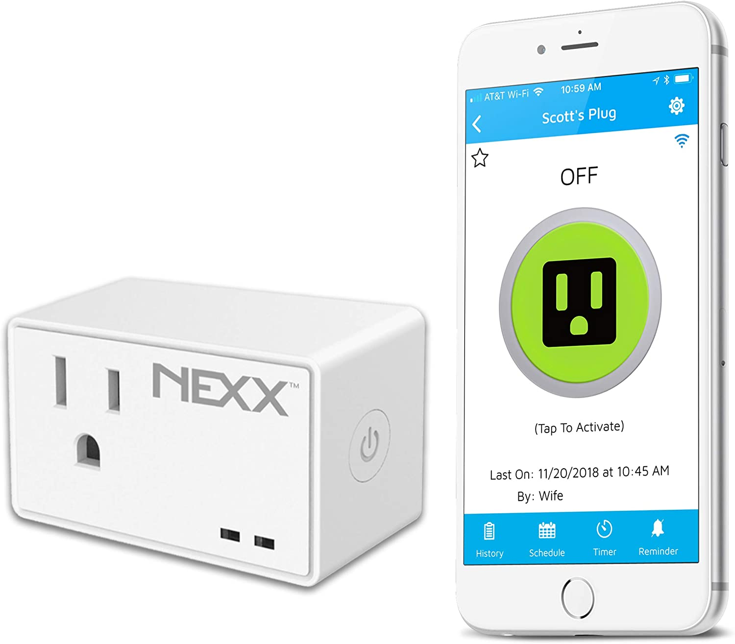 NEXX NXPG-100W WiFi Smart Plug with Geofencing Technology Control, Schedule and Monitor Appliances, TVs, Lamps, and More Using Smartphone, Siri, Amazon Alexa, Google Assistant. No Hub Required, White
