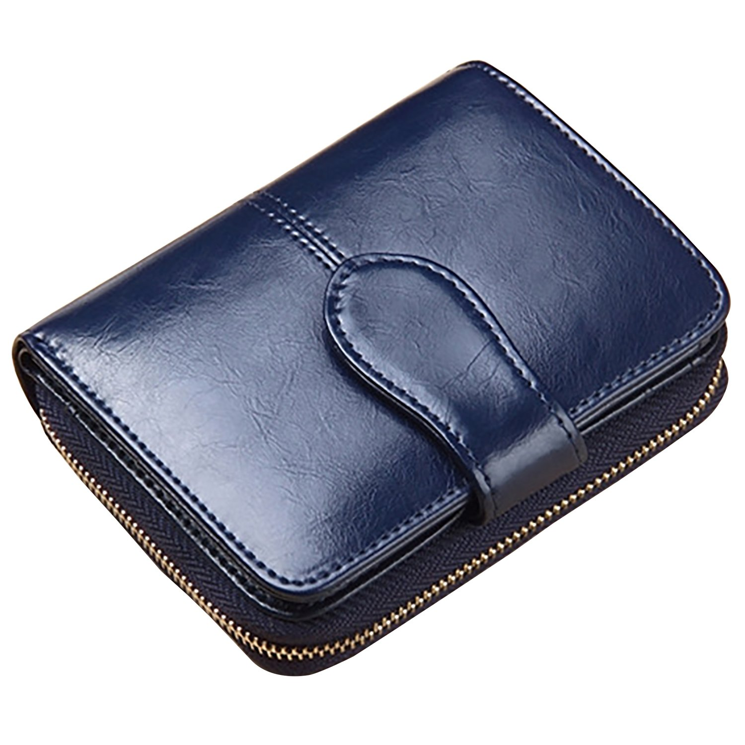 Lomory Accordion Zipper Wallet RFID Oil Wax Leather Credit Card Wallet Small Purse for Women (Blue)