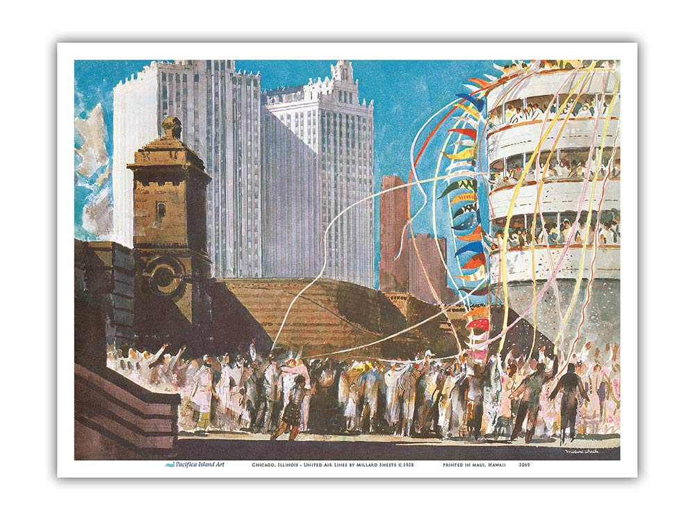 Pacifica Island Art Lake Cruiser Chicago Vintage Airline Travel Poster by Millard Sheets c.1958 United Air Lines Illinois Master Art Print 12in x 18in