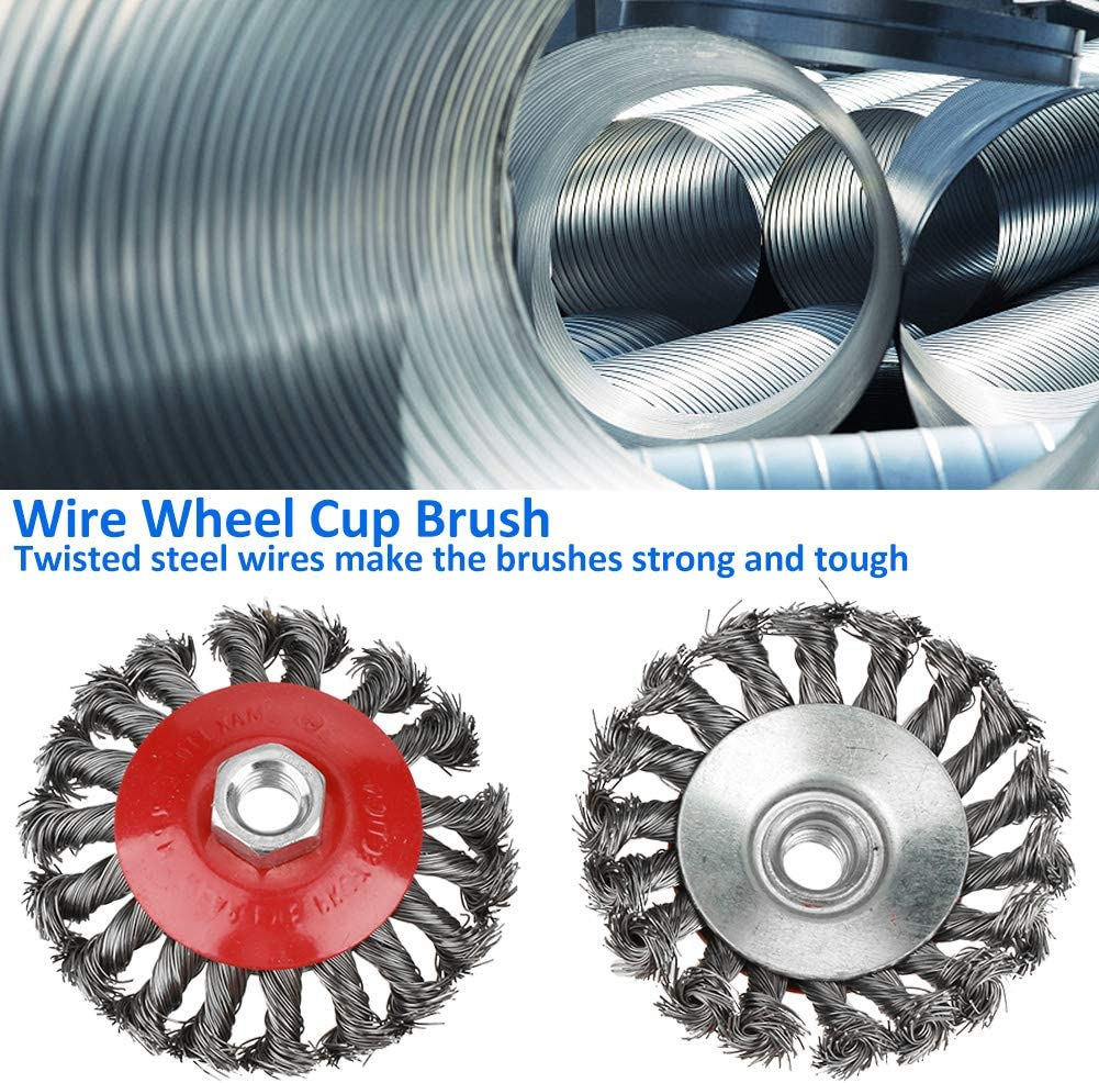 Wire Wheel Brush Cup 4 PCS Heavy Duty Knotted Grinder Brush for Angle Grinder Rust Paint Removal
