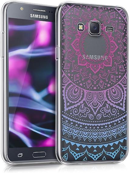 kwmobile Coque Compatible avec Samsung Galaxy J5 (2015) - Housse Protectrice pour Téléphone en Silicone Soleil Indien Bleu-Fuchsia-Transparent