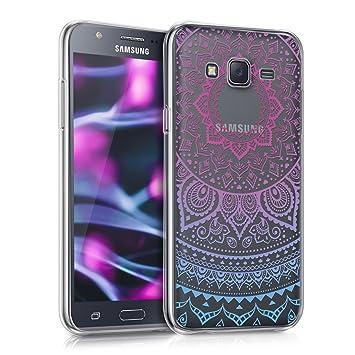 kwmobile Funda para Samsung Galaxy J5 (2015) - Carcasa de [TPU] para móvil y diseño de Sol hindú en [Azul/Rosa Fucsia/Transparente]