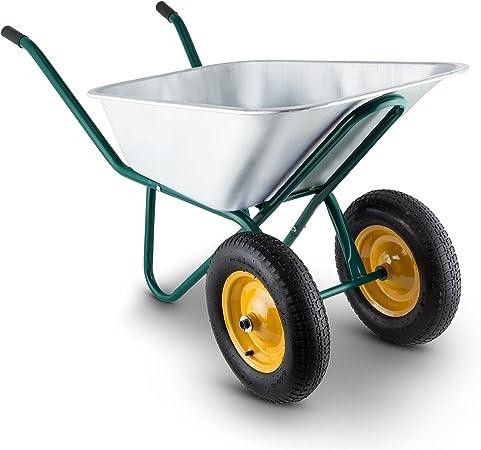 Waldbeck Heavyload Carretilla de Jardín Acero Verde (volumen 120 lt, capacidad max 320 kg, eje delantero con 2 ruedas, platón de acero galvanizado, empuñadora de goma): Amazon.es: Bricolaje y herramientas