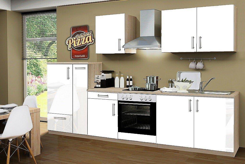 Idealshopping Blocco Cucina Con Piano Cottura A Induzione Premium 300 Cm In Bianco Lucido Amazon It Casa E Cucina