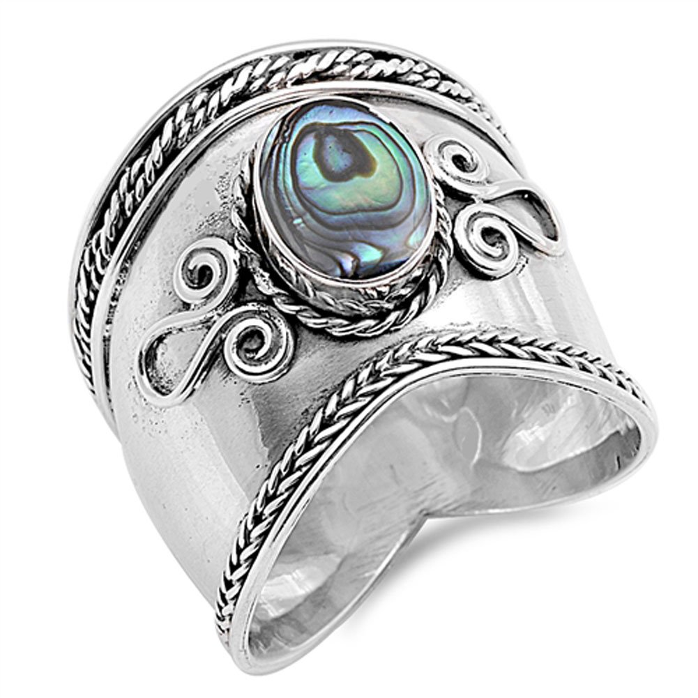 Simulated Abalone Wide Bali Ring New .925 Sterling Silver Rope Design Band Size 11