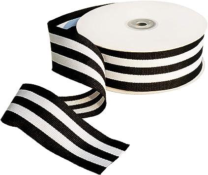 Striped Gross Grain Trim Tan White Ribbon Trim Classic Trim 3 Yards Black