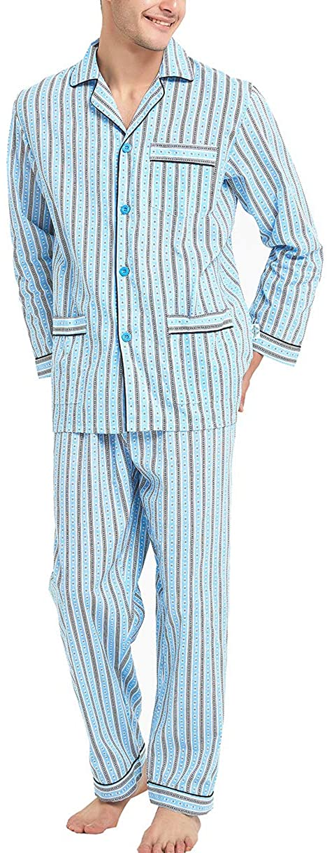 1930s Men's Clothing GLOBAL Mens Pajamas Set 100% Cotton Woven Drawstring Sleepwear Set with Top and Pants/Bottoms  AT vintagedancer.com