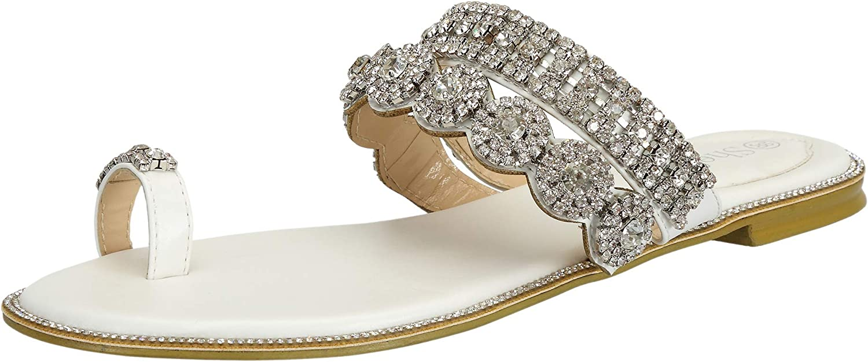 SheSole Ladies Slip on Sandals Flat Rhinestone Summer Beach Wedding Shoes for Women