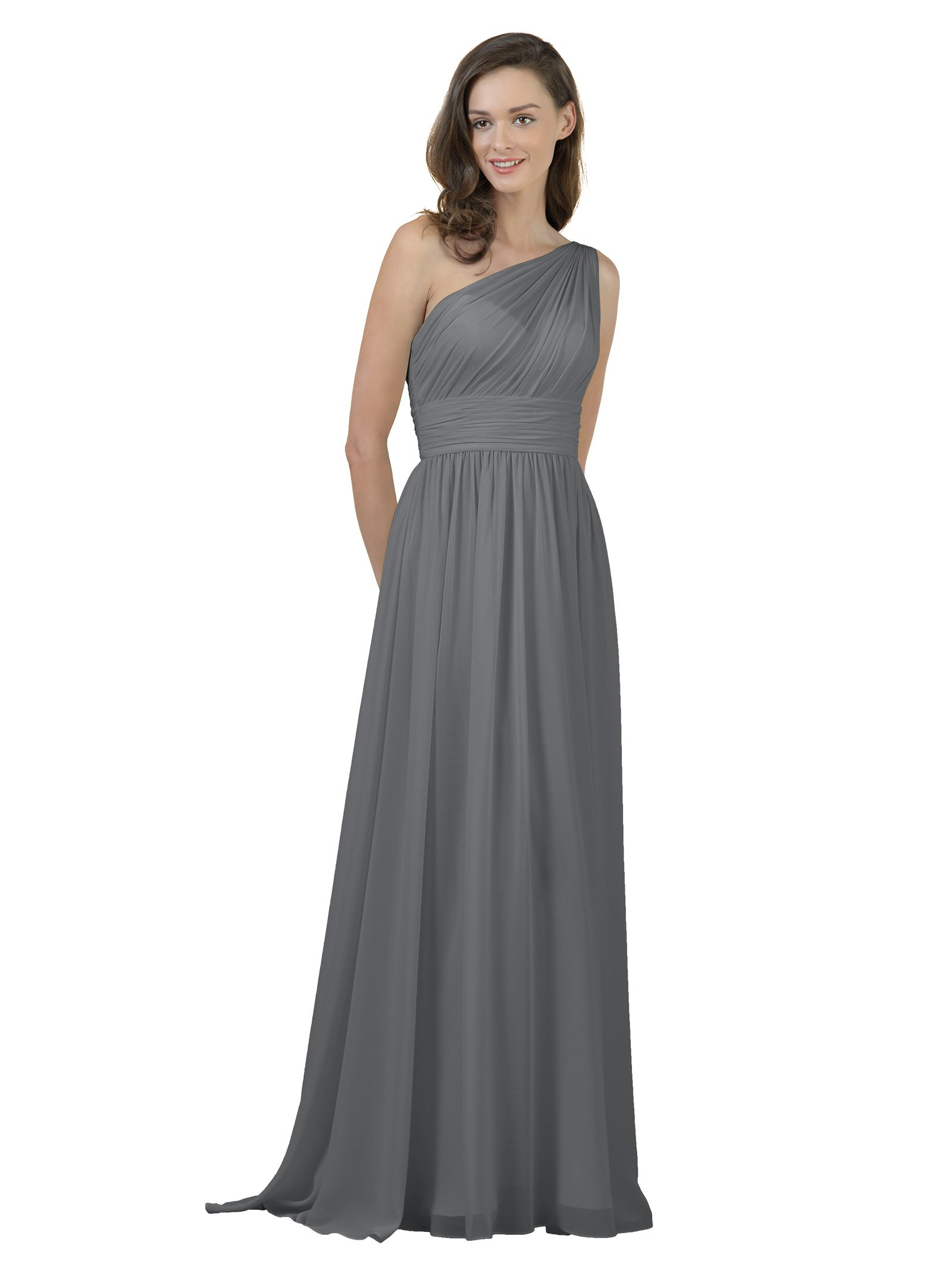 Alicepub One Shoulder Bridesmaid Dress for Women Long Evening Party Gown Maxi