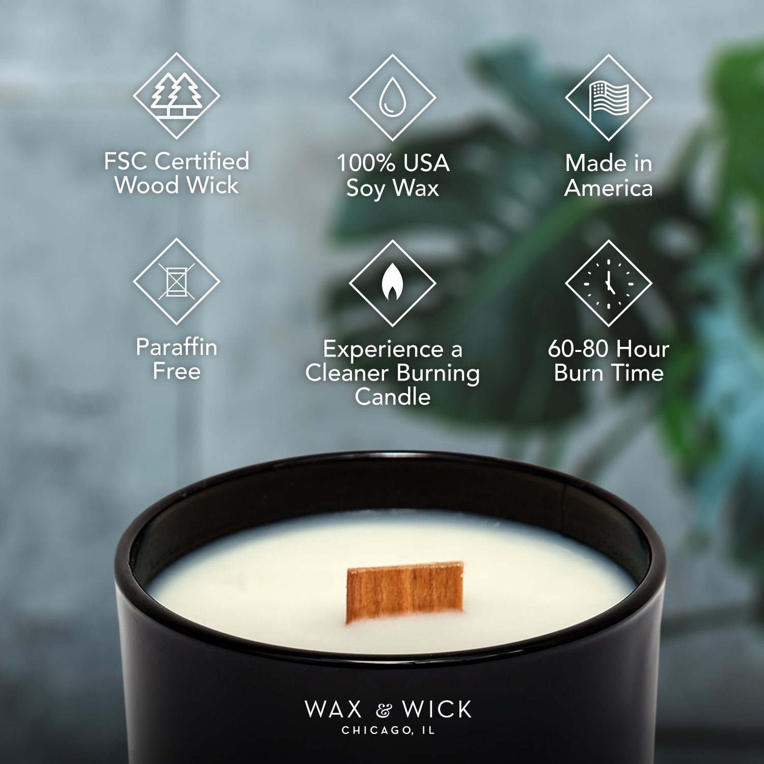 Scented Soy Candle: 100% Pure Soy Wax with Wood Double Wick | Burns Cleanly up to 60 Hrs | Mulled Cider Scent - Notes of Apple, Nutmeg, Vanilla, Caramel. | 12 oz Black Jar by Wax and Wick by Wax & Wick (Image #8)