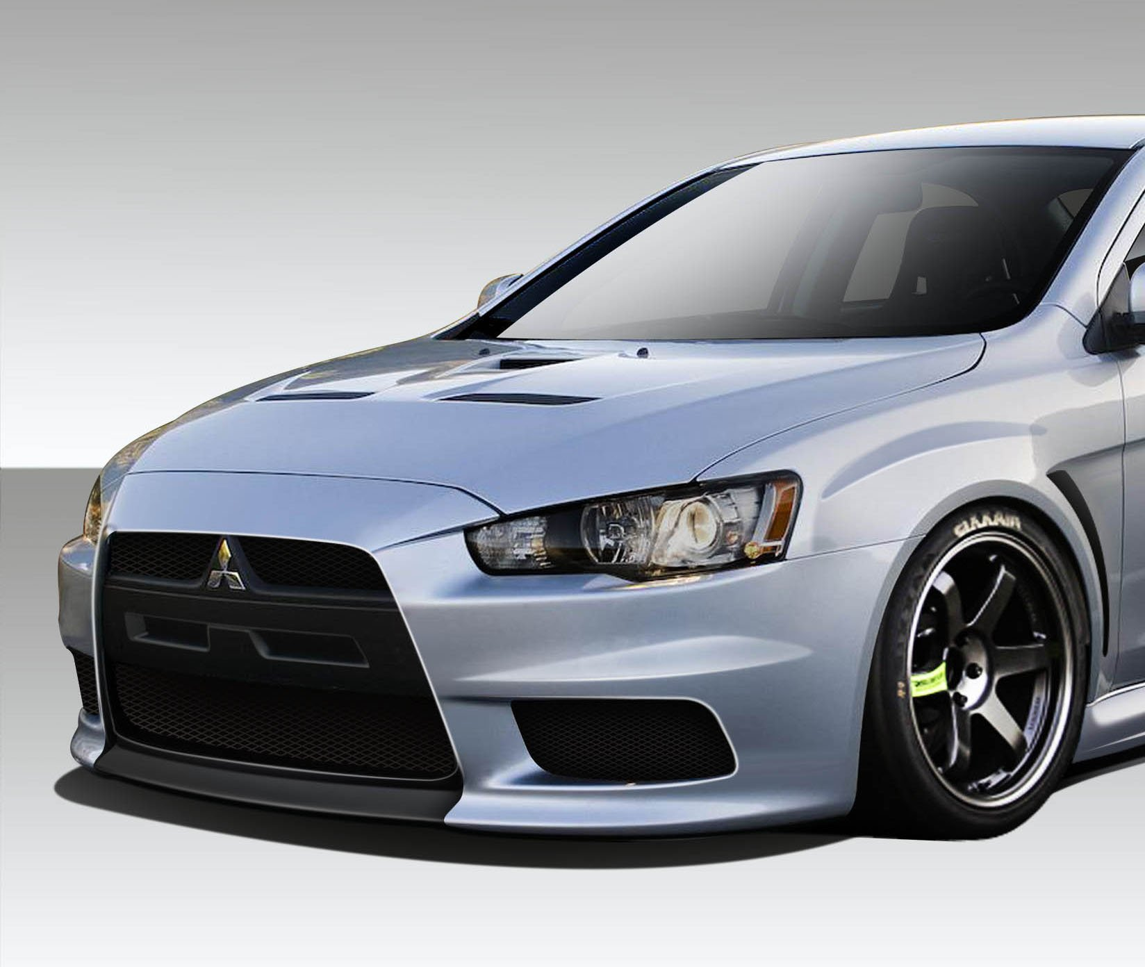 1 Piece Extreme Dimensions Duraflex Replacement for 2008-2017 Mitsubishi Lancer Evo X Look Front Bumper Cover