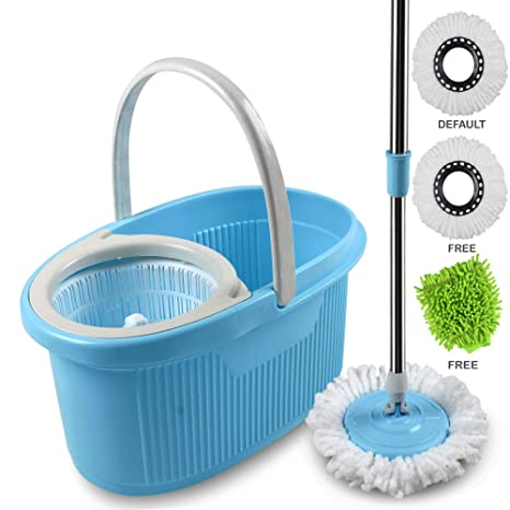 Cozylife by Smile Mom, Spin Mopper Floor Cleaner with Bucket Set Offer with Easy Wheels for Best 360 Degree Magic Cleaning, 2 Refill Head & Free Microfiber Glove