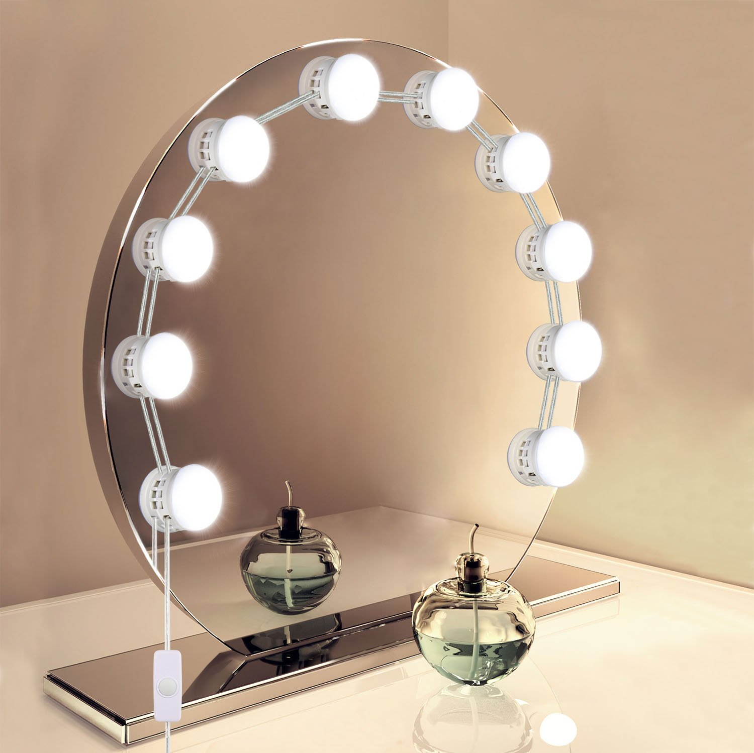 Mirror Lights, UNIFUN Hollywood Style LED Makeup Mirror Lights with 10 Dimmable Bulbs, USB Powered Flexible Lighting Fixture 7000K for Bathroom, Makeup Dressing Table (Mirror Not Include) (Button)