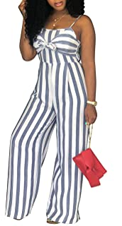 fa205f4b5b0f shekiss Women s Sexy Spaghetti Strap Striped Wide Leg Long Pants Palazzo Jumpsuit  Rompers Ladies Outfits