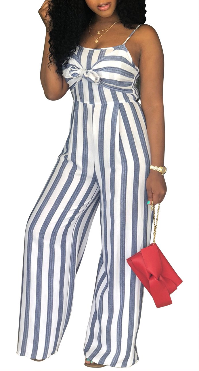 SheKiss Women's Sexy Spaghetti Strap Striped Tie Bowknot Long Pants Palazzo Jumpsuits Rompers Ladies Outfits White