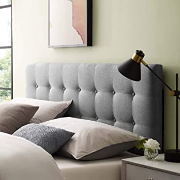Modway Emily Tufted Button Linen Fabric Upholstered Queen Headboard in Gray