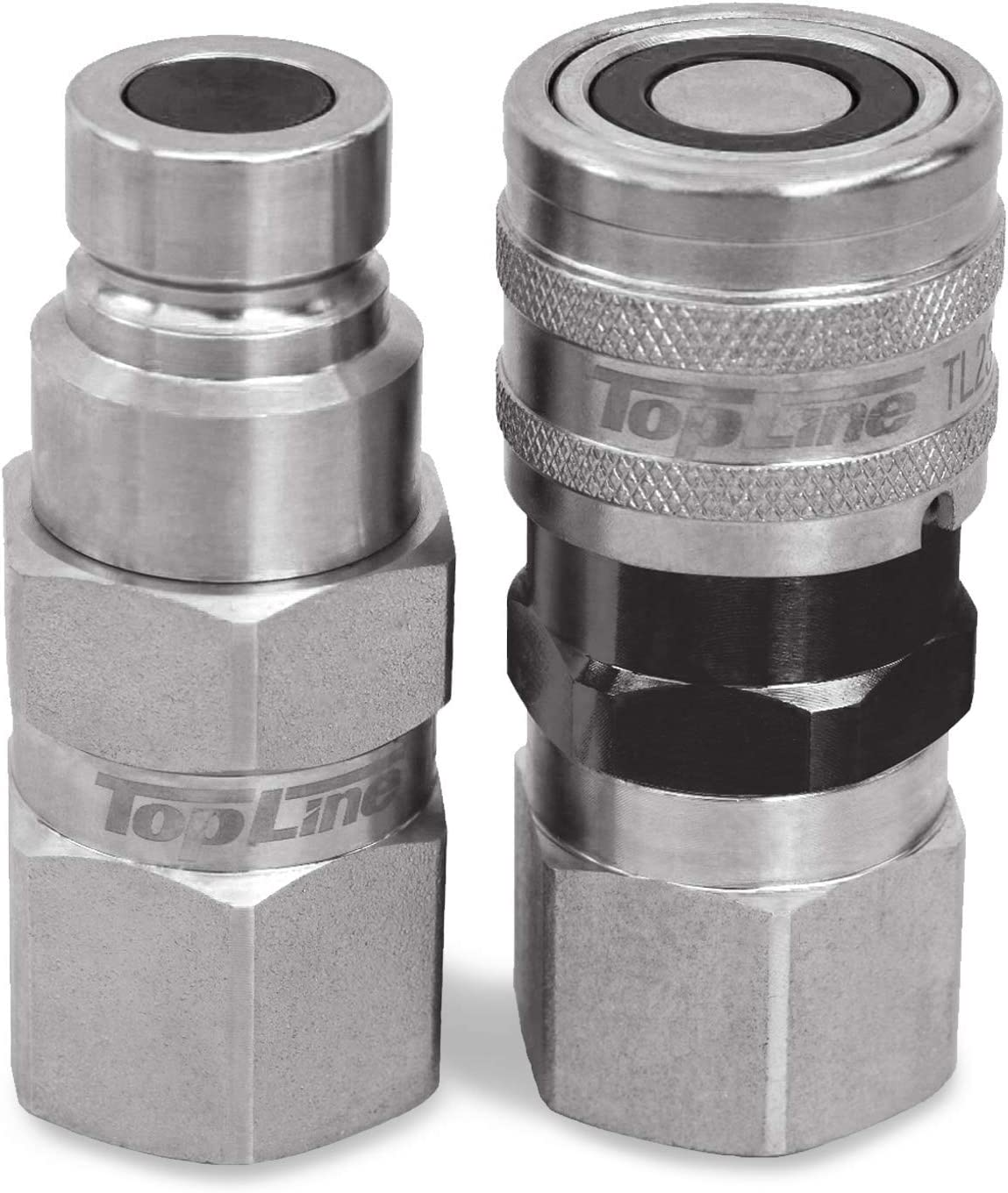 """3//4/"""" NPT 1//2/"""" Body Skid Steer Flat Face Hydraulic Quick Connect Coupler Set"""