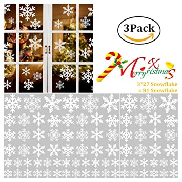 Amazoncom WenMei Snowflake Window Stickers Christmas Snowflakes - Snowflake window stickers amazon