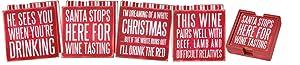 Primitives By Kathy Box Sign Coasters (Set of 4) - Xmas Wine
