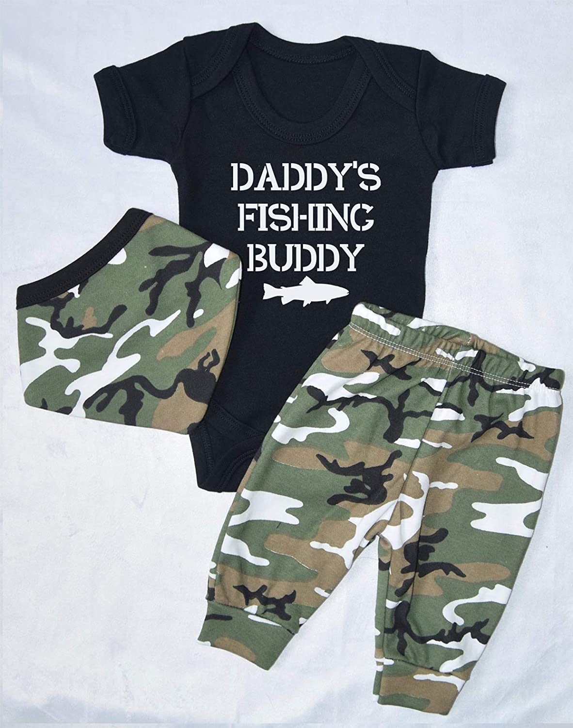 Daddy's Fishing Buddy Army Vest Pants and Headband Set Babygrow New Baby Gifts Newborn baby Gifts Personalised Babywear Cute Babywear