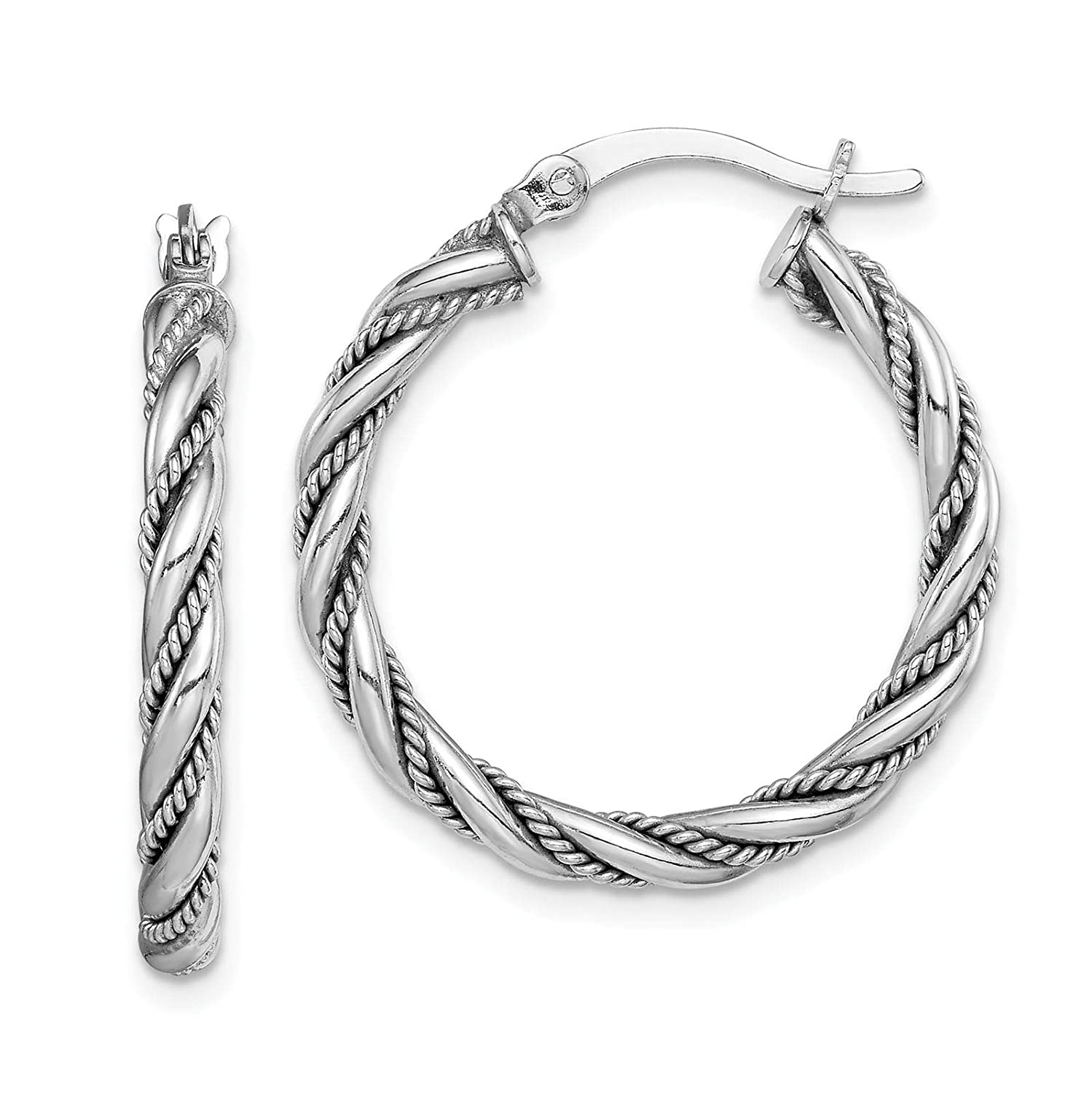 925 Sterling Silver Rhodium-plated Polished /& Textured Twisted Hoop Earrings