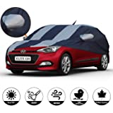 AllExtreme I7005 Car Body Cover for Hyundai Elite i20 Custom Fit Dust UV Heat Resistant for Indoor Outdoor Protection (Blue-Silver with Mirror)