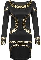 Flirty Wardrobe Mini robe feuille d'or Kim Kardashian Tunique Bodycon Midi courtes