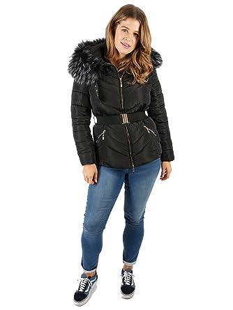 7195270a14d Lovedrobe Women s Plus Size Black Padded Jacket with Fur Trim (16 ...