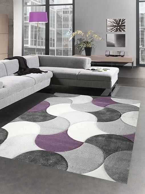 Carpetia Tapis de Salon Design Tapis Court Pile Gouttes Gris Lilas Beige  Violet Größe 200 x 290 cm