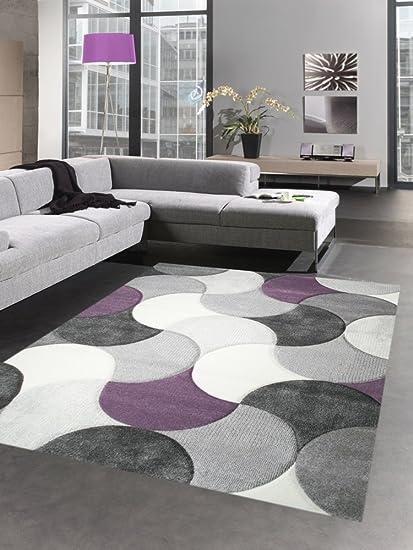 Carpetia Tapis de Salon Design Tapis Court Pile Gouttes Gris Lilas Beige  Violet Größe 120x170 cm