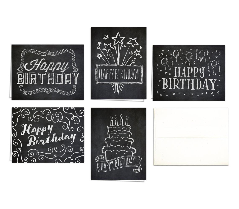 Chalk Art Birthday Cards (Set of 10 Happy Birthday Cards + Natural White Envelopes) - 5 Unique Designs - By Palmer Street Press