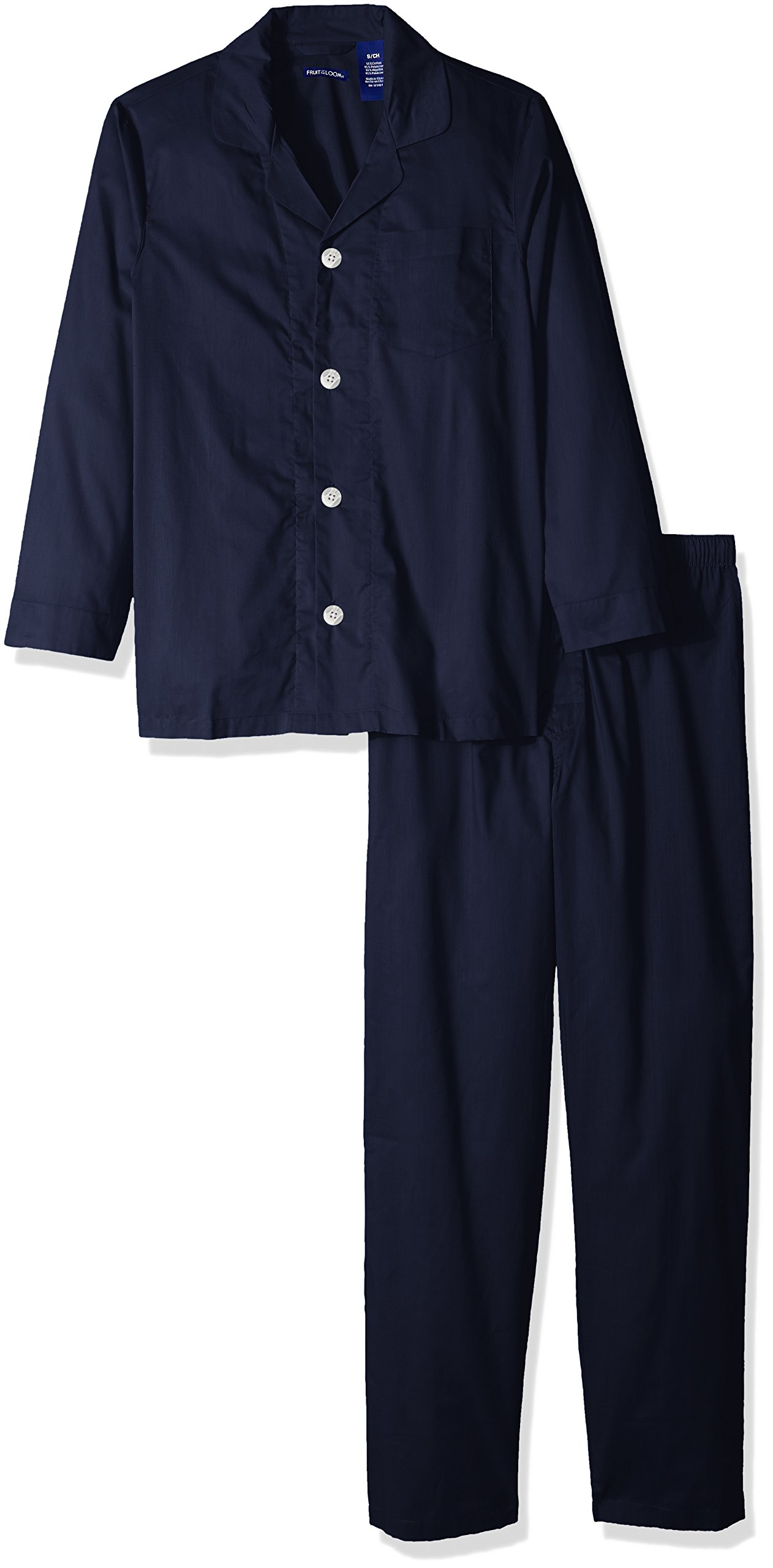 Fruit of the Loom Men's Solid Long Sleeve Broadcloth Pajama Set, Navy, X-Large