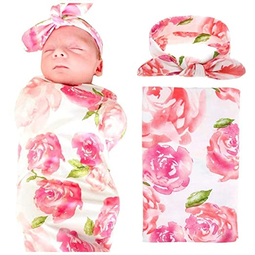 50f5ad7a5 Queen Baby Swaddle Blanket Wraps with Headband, Newborn Receiving Blankets,  Pink Flower: Baby