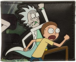 6fa0aae4f00 bioWorld Adult Swim Rick and Morty PU Faux Leather Bifold Wallet