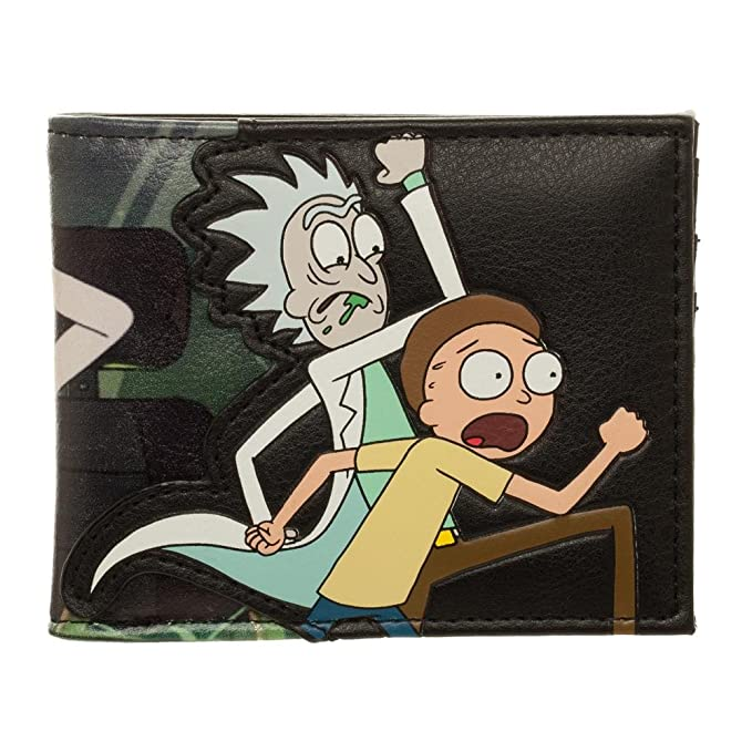 Size At Swim Adult Men's Faux Morty Clothing Rick Bioworld And Wallet Bifold Leather Store Pu Amazon Black One