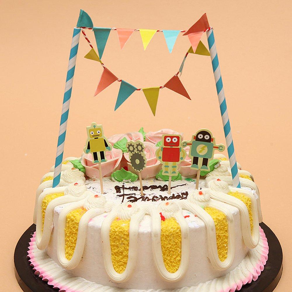 TRIXES Novelty Robot Cake Banner Topper Flag Decoration Birthday ...