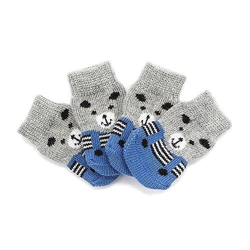 Calcetines para Perros, Ropa De Deslizamiento, Zapatos De Algodón para Mascotas Grises Sucios De Otoño E Invierno Calientan 8PCS Pies Calcetines 4: ...
