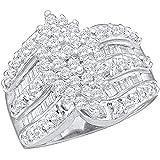 1.20 Carat (ctw) 10K Gold Round & Baguette Cut White Diamond Ladies Cluster Right Hand Ring 1 1/4 CT