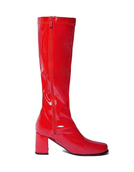 Red Knee High Go Go Boots - Sizes 3 UK to 11 UK: Amazon.co.uk: Shoes & Bags